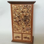 """Marquetry""""Bee Comb Jewelry Cabinet"""" Richard Gady  Rich Gady Woodworking Lakewood, CO Click image to view larger or download"""